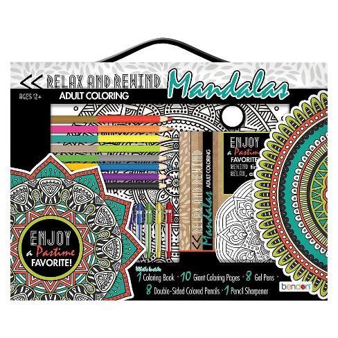 Bendon Adult Coloring Book Kit Mandalas Target
