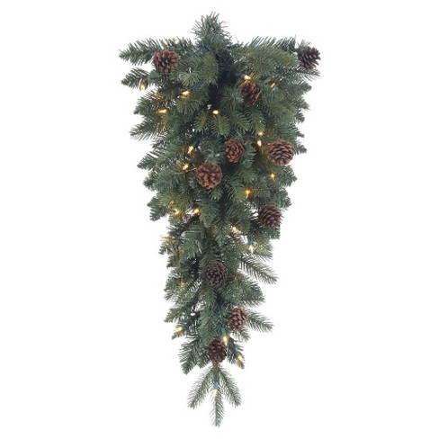 "30"" Pre-Lit Christmas Swag Aberdeen Spruce Teardrop with 35 Clear Lights - image 1 of 1"