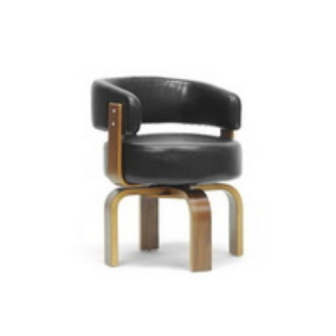 Fortson and Modern Accent Chair Black/Brown - Baxton Studio - image 1 of 4