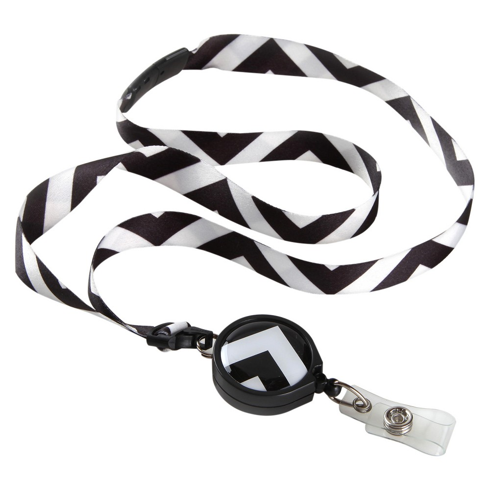 ID Avenue Ribbon Lanyard Black/White Chevron, Adult Unisex Our Warhol Ribbon Lanyard with badge reel has a striking look with a white and black pattern sure to capture the attention of all who see it. Color: Black/White. Gender: Unisex. Age Group: Adult. Pattern: Chevron.