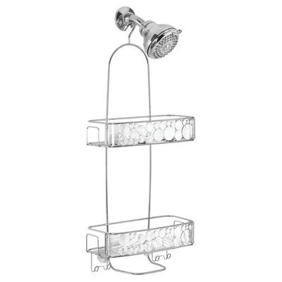 Bathroom Shower Caddy Extra Long Clear/Silver - InterDesign
