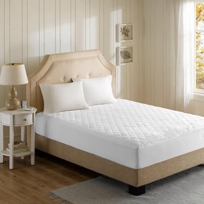 Cotton Blend Heated Mattress Pad (Queen)White - Beautyrest