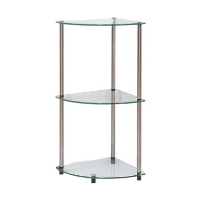 "31.5"" Classic Glass 3 Tier Corner Shelf Clear Glass - Breighton Home"