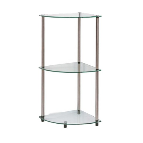 """31.5"""" 3 Tier Glass Corner Shelf - Johar Furniture - image 1 of 4"""