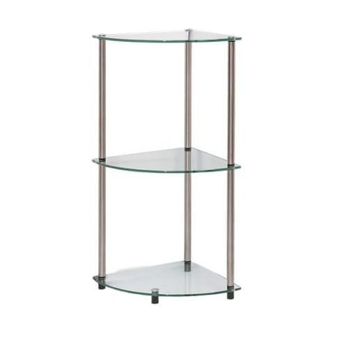 "31.5"" Classic Glass 3 Tier Corner Shelf Clear Glass - Breighton Home - image 1 of 4"