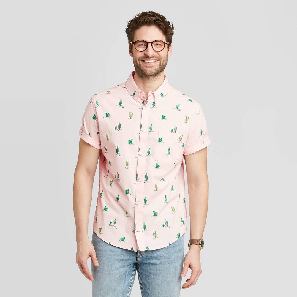 Men's Standard Fit Short Sleeve Button-Down Shirt - Goodfellow & Co Peach Pink M, Pink Pink was $19.99 now $12.0 (40.0% off)