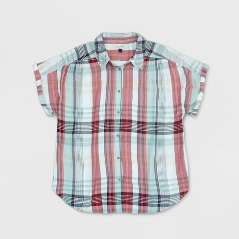 Beloved Men Plaid Summer Short Sleeve Button Down Shirt