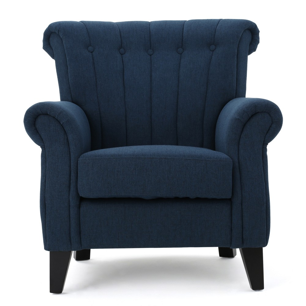 Waldorf Channel Club Chair Dark Blue - Christopher Knight Home