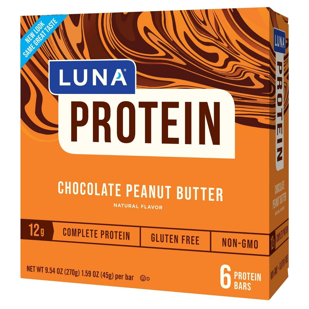 Luna Protein Chocolate Peanut Butter Nutrition Bars 6ct