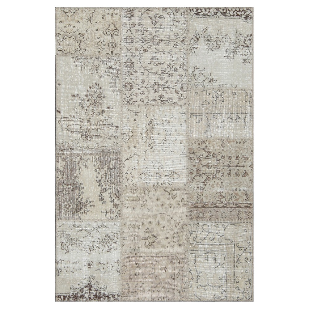 "Image of ""Antique Patchwork Accent Rug Earthy 3'11""""x5'11"""", Brown"""