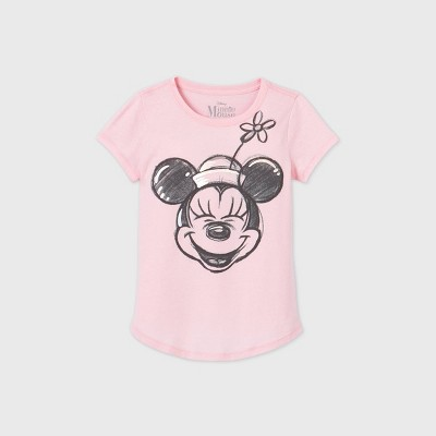 Girls' Disney Minnie Mouse Short Sleeve Graphic T-Shirt - Pink