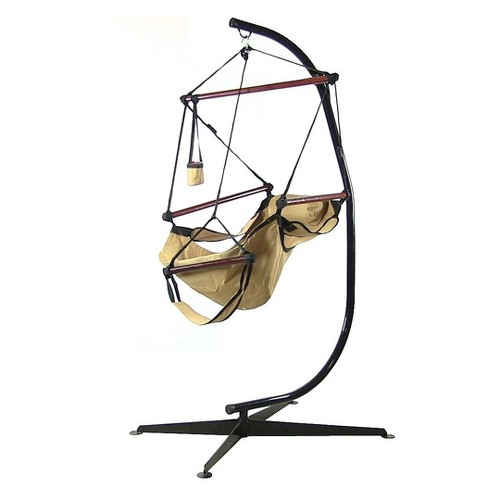 Hanging Hammock Chair and Stand - Tan - Sunnydaze Decor - image 1 of 5