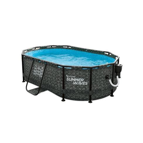 Summer Waves P71006331 9.8 x 6.5 Foot 33-Inch Deep Dark Herringbone Print Active Above Ground Metal Framed Oval Family Backyard Swimming Pool, Gray - image 1 of 4