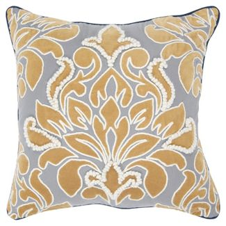 Floral Design Oversize Square Throw Pillow Gray - Rizzy Home