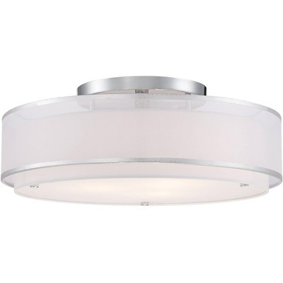 "Possini Euro Design Modern Ceiling Light Flush Mount Fixture Sheer Organza Off White Double Drum 20"" Wide for Bedroom Kitchen"