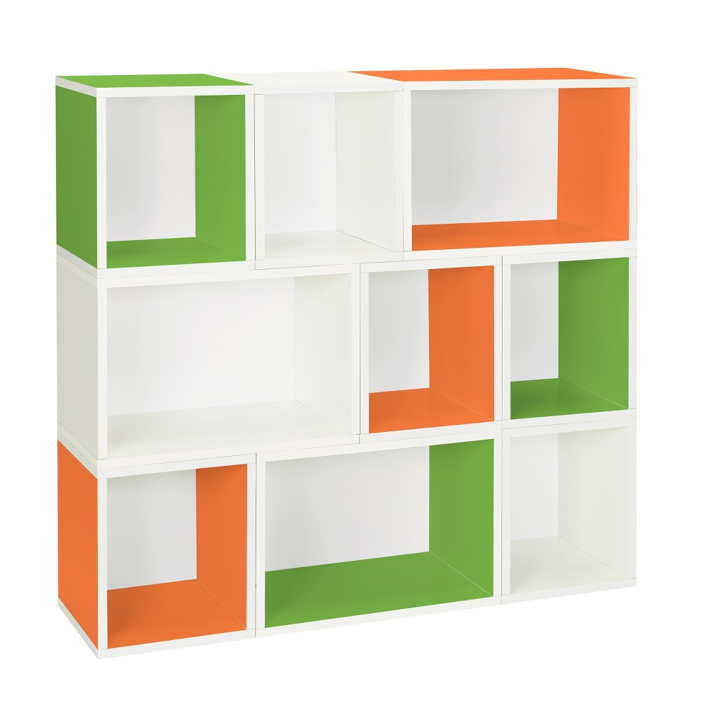 Way Basics Oxford 9 Stackable Cubes Storage - Modular Bookcase- Lifetime Guarantee, Multi-Colored