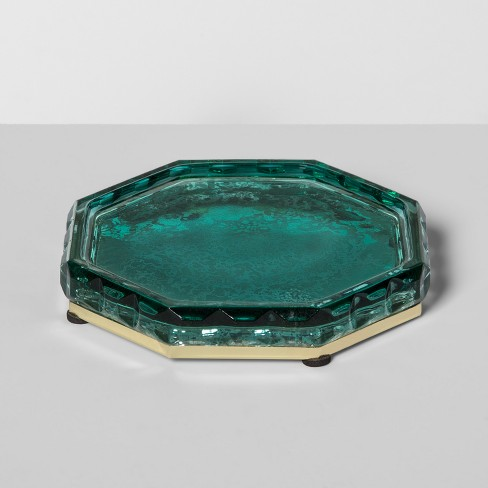 Indo Chic Mercury Glass Soap Dish Green - Opalhouse™ - image 1 of 2