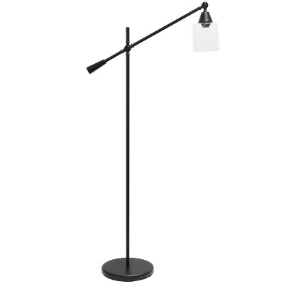 Swing Arm Floor Lamp with Glass Cylindrical Shade Black - Lalia Home