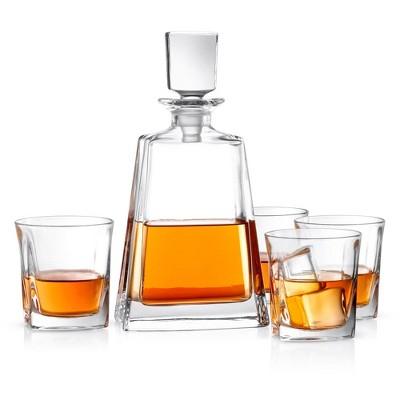JoyJolt Luna Whiskey Decanter Bar Set - Set of 5 - Scotch Decanter & Old Fashioned Whiskey Glasses