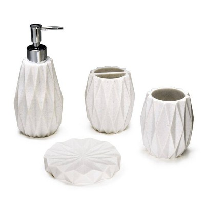 4pc Poliresine Bathroom Set White - KRALIX
