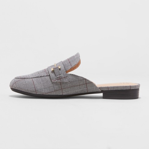 4541ee9788f Women s Remy Plaid Backless Loafers - A New Day™ Gray 8.5   Target