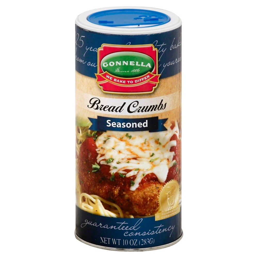 "Gonnella Bread Crumbs Seasoned 10 oz These Bread Crumbs start with all the goodness that made Gonnella Brand Bread Crumbs famous. Then, seasoned with ""just right"" mix of cheeses, herbs and spices, they bring added zest to your favorite recipe. Sprinkle on soups and salads, or combine to season a sandwich or entree. These Gonnella Bread Crumbs can just about do it all."