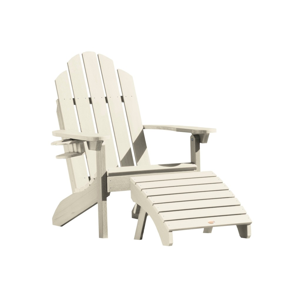 Classic Westport Adirondack Chair with Easy-Add Cup Holder & Folding Adirondack Ottoman Whitewash - Highwood, Off White