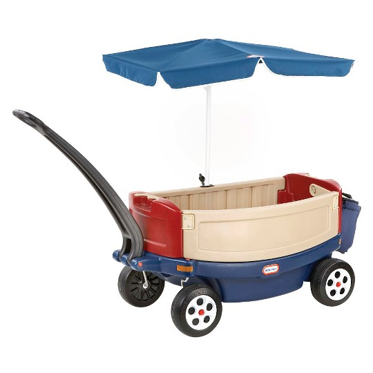 Little Tikes Deluxe Ride & Relax Wagon with Umbrella & Cooler image number null