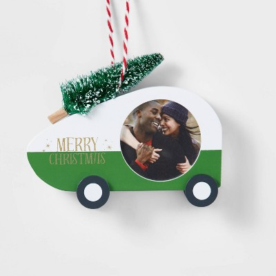 Wood Camper Trailer with Tree Photo Frame Christmas Ornament Green - Wondershop™