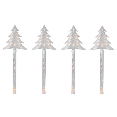 Northlight 4ct Lighted Christmas Tree Pathway Marker with Lawn Stakes White Wire - Clear Lights