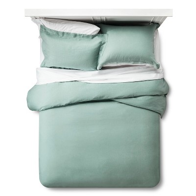 Linen Duvet Cover & Sham Set Queen - Green - Fieldcrest™
