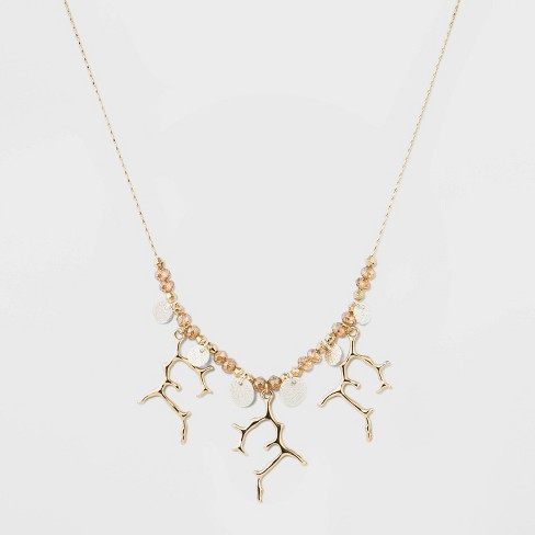 Coins and Branches Short Necklace - A New Day™ Silver/Gold - image 1 of 3