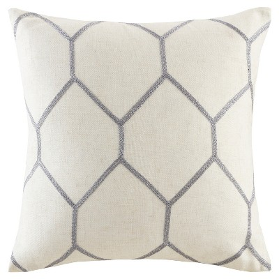 20 x20  2pk Geometric Embroidered Throw Pillow Gray
