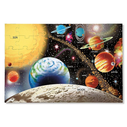 Melissa And Doug Solar System And Underwater Jumbo Floor Puzzle 48pc image number null