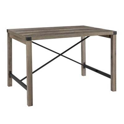 48  Industrial Farmhouse Dining Table Gray Wash - Saracina Home