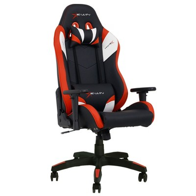 E-Win Calling Series Ergonomic Computer Gaming Home Office PU Leather Tall Back Chair with Pillows, Black and Red