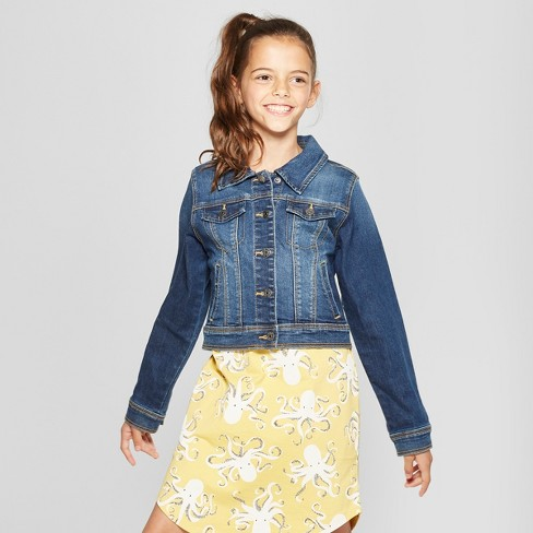 Girls Denim Jacket Cat Jack Dark Blue Target