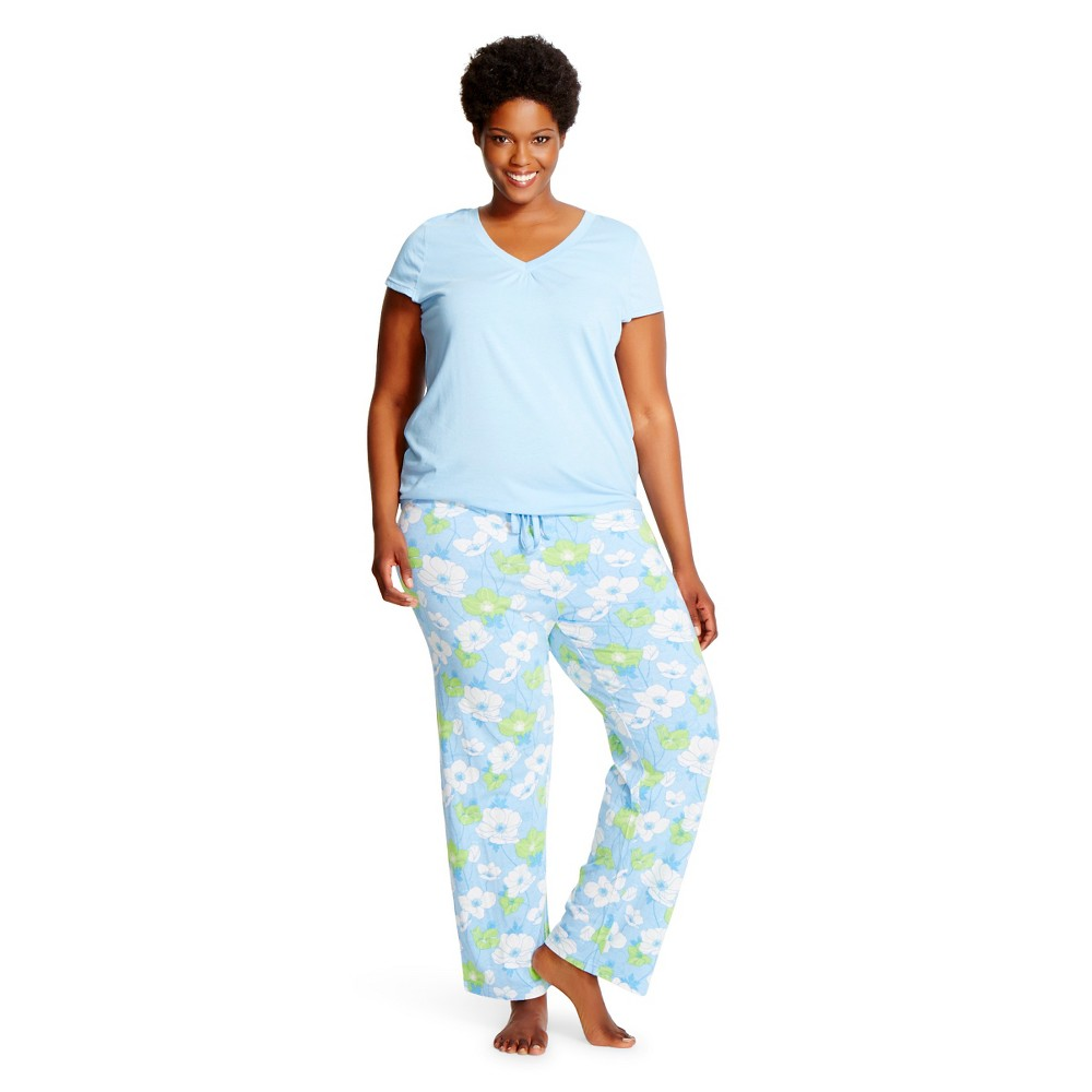 Hanes Premium Women's Plus Size Pajama Set 2X Lite Blue