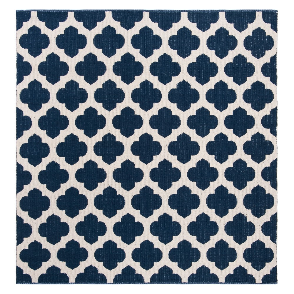 6'X6' Quatrefoil Design Woven Square Area Rug Navy/Ivory (Blue/Ivory) - Safavieh