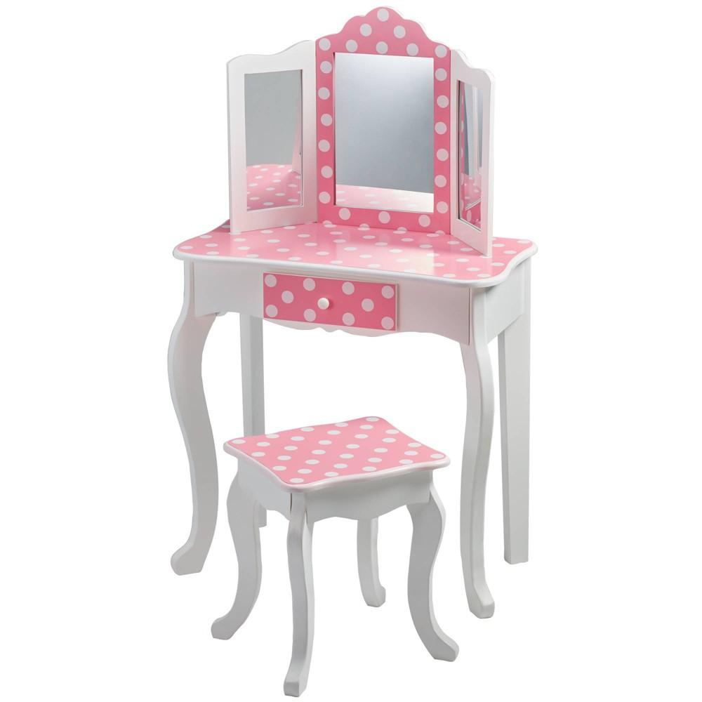 Image of Polka Dot Fashion Prints Vanity Table & Stool Set - Teamson Kids