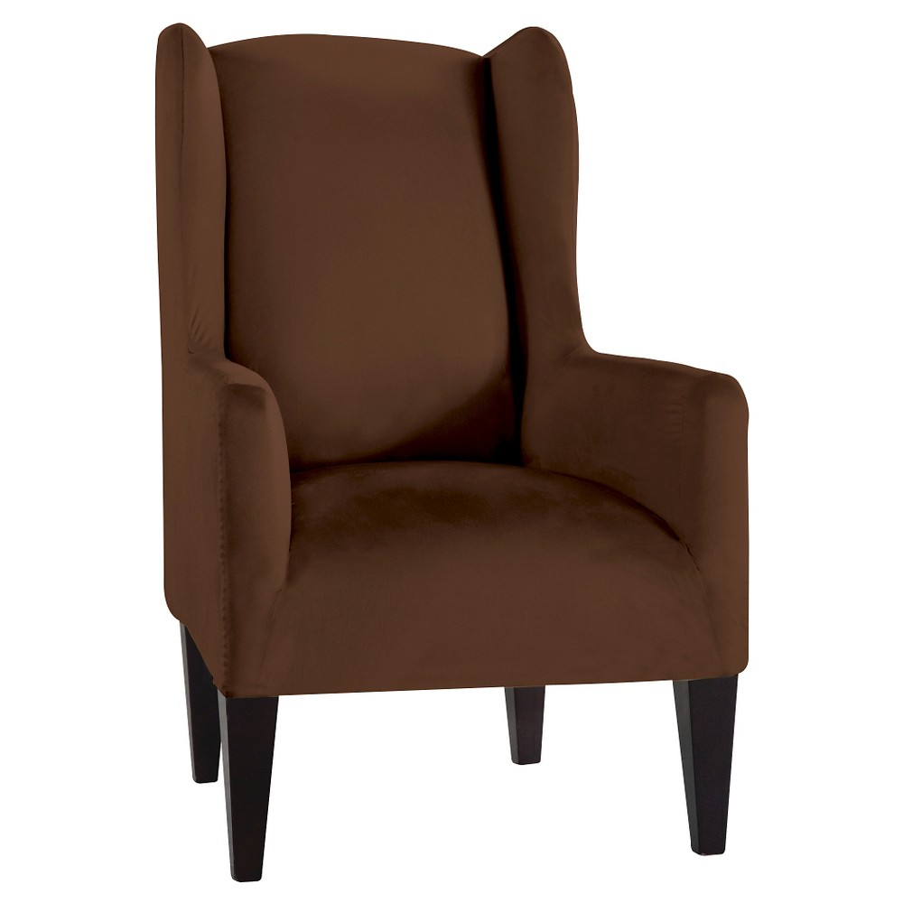 Cocoa (Brown) Stretch Fit Microsuede Wingchair Slipcover - Serta