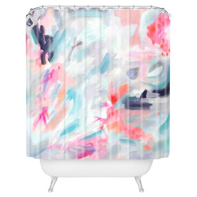 Watercolor Swirl Shower Curtain Blue - Deny Designs