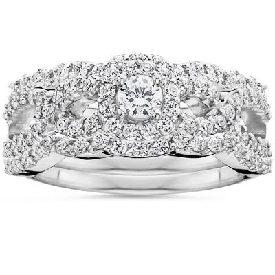 Pompeii3 1 1/10Ct Diamond Engagement Bridal Wedding Ring Set 10K White Gold