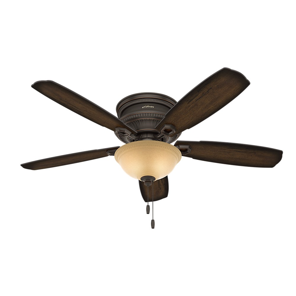 """Image of """"52"""""""" Ambrose Low Profile Bowl Light Onyx Bengal Ceiling Fan with Light - Hunter Fan"""""""
