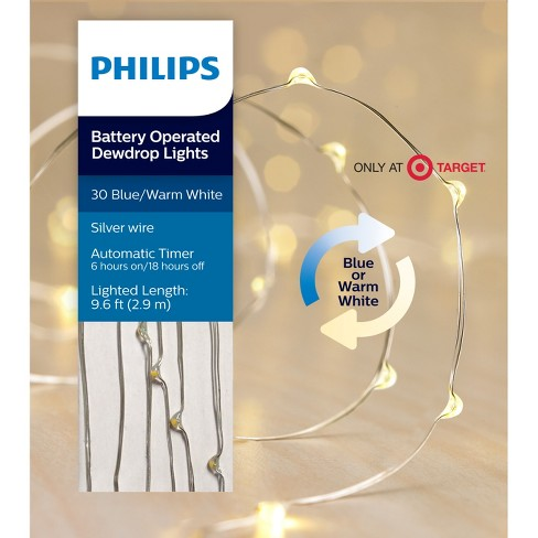 philips 30ct christmas led dewdrop lights battery operated bi color bluewarm white sw target