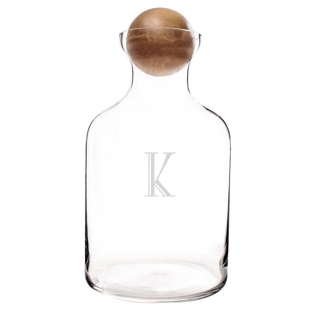 Cathy's Concepts 56 oz. Personalized Glass Decanter with Wood Stopper-K, Clear