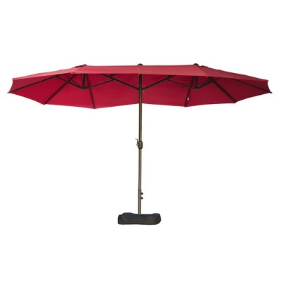 Outsunny 15' Steel Rectangular Outdoor Double Sided Market Patio Umbrella