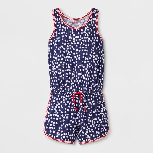 53c717894c12f Girls' Sleeveless Americana Star Print Knit Romper - Cat & Jack™ Navy