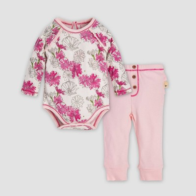 Burt's Bees Baby® Baby Girls' Wildflower Bunch Organic Cotton Bodysuit & Ruffle Pants Set - Pink 3-6M
