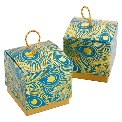 24ct Feathers Foil Favor Boxes - Gold/Teal - image 1 of 2